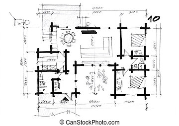 sketch of a house arrangement plan - draft of a house layout...