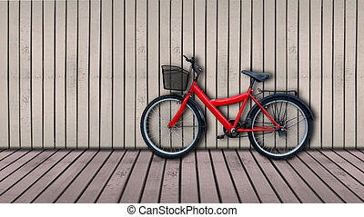 red bicycle on brown color wooden house wall.