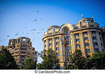 Buildings in the center of Bucharest city in Romania