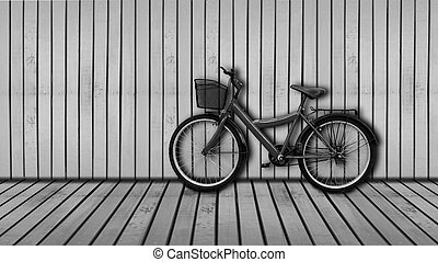 red bicycle - bicycle on black and white wooden house wall...
