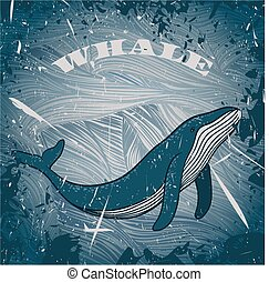 whale on marine grunge background