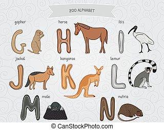 cartoon funny zoo alphabet - Cute cartoon funny zoo alphabet...