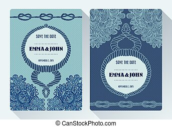 Nautical rope tying the knot wedding card on dot and floral...