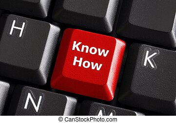know how knowledge or education concept with red button on...
