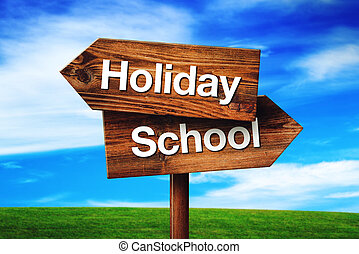 Holiday or School Choice, Rustic Opposite Direction Wooden...