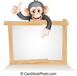 Monkey Sign - Cute cartoon chimp monkey like character...