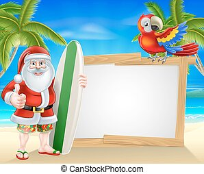 Surf Board Santa Tropical Beach Sign - Cartoon of Santa...