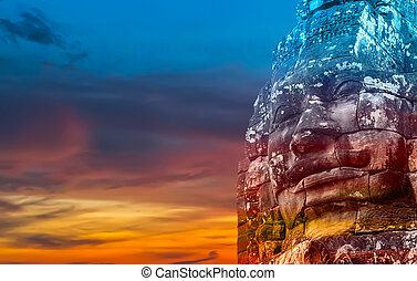 monument Bayon temple, Angkor, Cambodia - stone faces of...