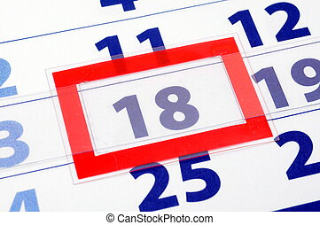 18 calendar day - calendar showing date of today with red...