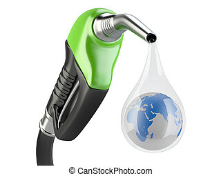 Green fuel pump nozzle and drop water with earth. Bio fuel...
