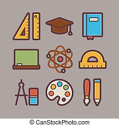 School and Education Items Modern Flat Icons Set