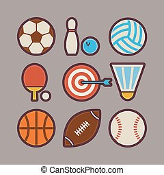 Sport Items Modern Flat Icons Set