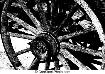 Old Wagon Wheel - Duotone of an old wagon wheel