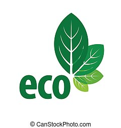 eco vector logo in the form of green leaves