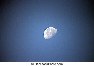 Half moon on a blue sky - Picture of a Half moon on a blue...