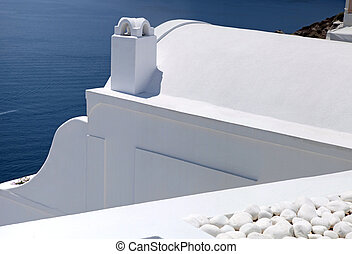 detail of white washed traditional houses, Greece, Santorini...