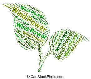 representa, potencia, energía, ambiente, turbina, viento