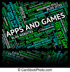 Apps And Games Represents Play Time And Application