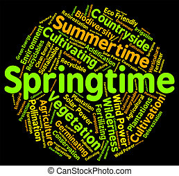 Springtime Word Represents Words Season And Seasons -...