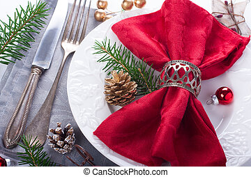 Christmas table place setting with decorations - Christmas...