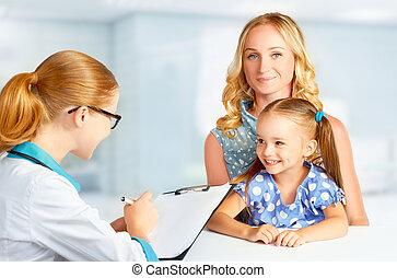 visita, madre, y, niño, a, doctor, pediatra,