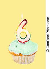 sixth birthday - sixth birthday cupcake with green frosting...