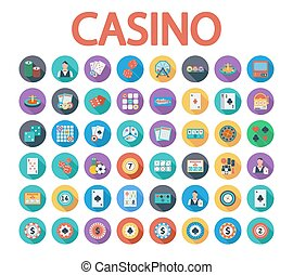 Casino icons set. Flat vector related icon set whit long...