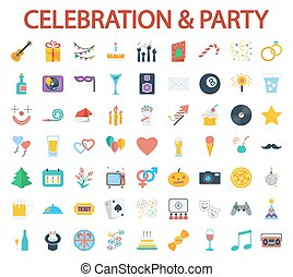 Party icons - Celebration and Party icons set. Flat vector...