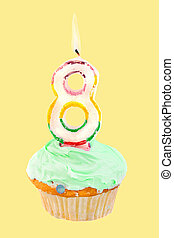 eighth birthday - eighth birthday cupcake with green...