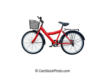 Red bicycle isolated on a white background