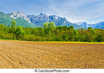 Plowed Fields in the Foothills of the Italian Alps