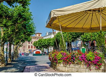Saint-Jean-de-Luz, France - A bandstand surrounded by...