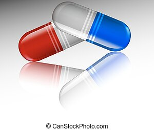 Capsules with reflection - Medical capsule with reflection,...