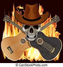 skull in a cowboy hat with crossed guitars
