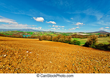 Plowed Fields - Mountain Lake Surrounded by Forests and...