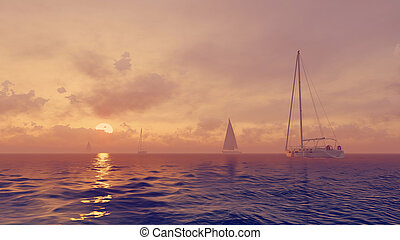 Sailboats in the ocean at sunrise - Yachts silhouettes in...