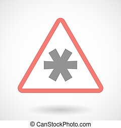 Warning signal with an asterisk - Illustration of a warning...
