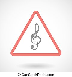 Warning signal with a g clef - Illustration of a warning...