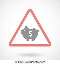Warning signal with a piggy bank