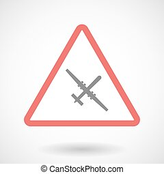 Warning signal with a war drone - Illustration of a warning...