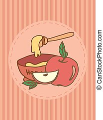 Rosh hashana greeting card with apple and honey Hand drawing...