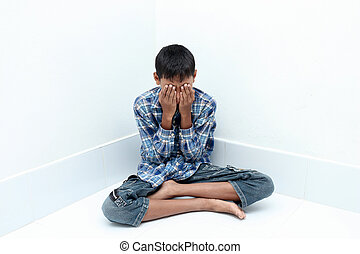 boy crying - Negative emotion of a boy,teenage problem...