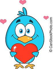 Cute Blue Bird Holding A Love Heart