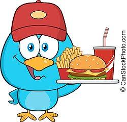 Blue Bird Holding A Platter