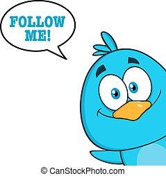 Blue Bird With Speech Bubble - Cute Blue Bird Cartoon...