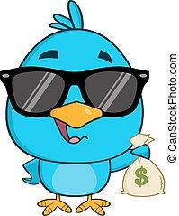 Blue Bird Holding A Bag Of Money
