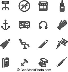 Tattoo and Piercing Icons - Piercing and tattoo icons Simple...