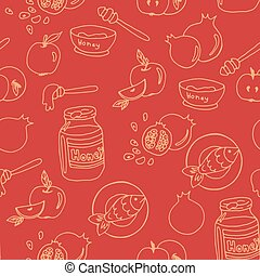 Symbols of Rosh Hashanah - Seamless pattern with symbols of...