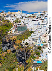 Greece, Santorini, Fira town. Morning view of the building...