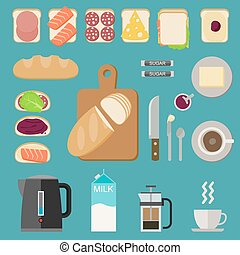 Breakfast food. - Icons set with breakfast food, sandwiches...